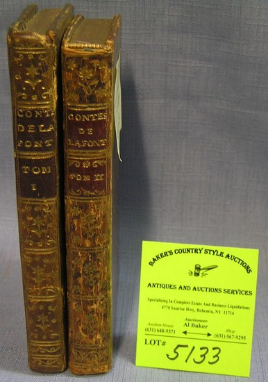 Pair of antique leather bound books