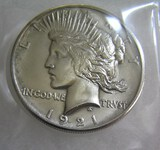1921 Peace silver dollar scarce date in AU condition