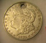 1921 Morgan silver dollar with necklace loop on top