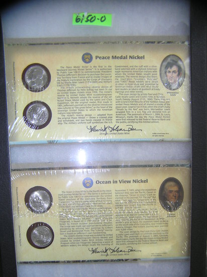 Group of cased Peace medal and Ocean in View nickels
