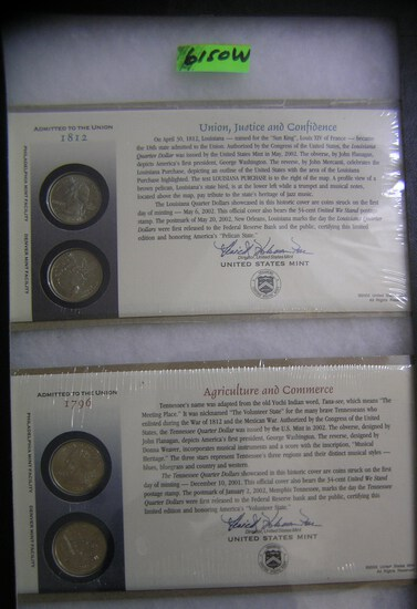 Group of cased American Union US quarters