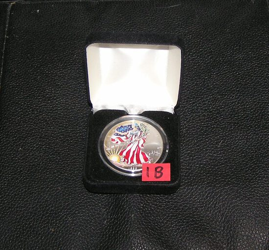 Paint decorated walking Liberty silver eagle