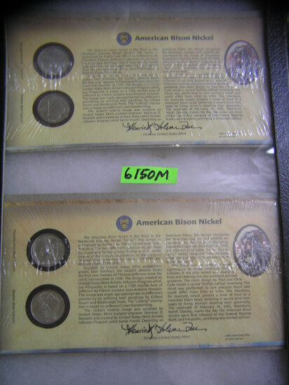 Group of cased American Bison nickels