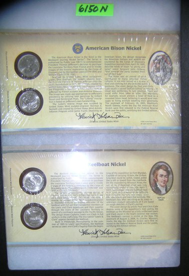 Group of cased American Bison and keel boat nickels