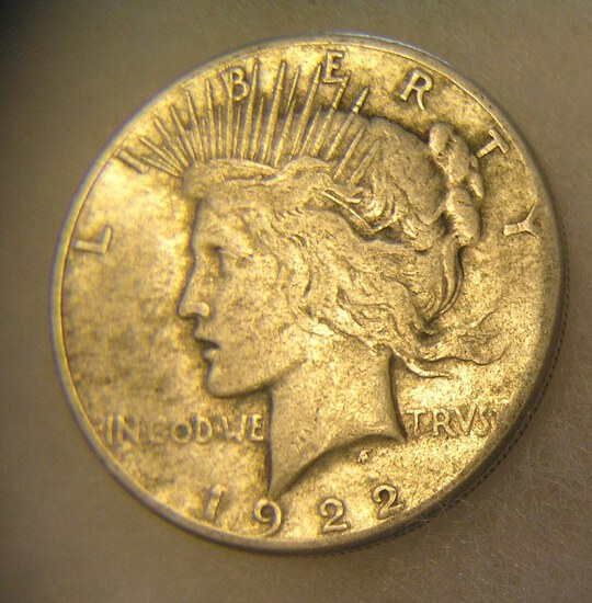 1922S Peace silver dollar in very good condition