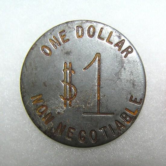 Antique one dollar gambling token