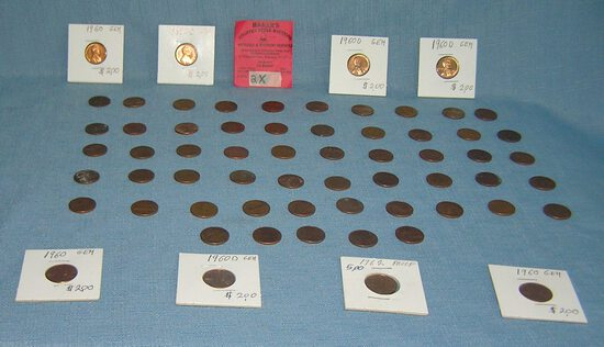 Collection of Lincoln Memorial vintage copper pennies