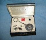 1899-O Morgan silver dollar key chain, cuff link and tie bar set