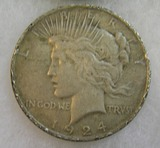 1924 Lady Liberty Peace silver dollar in good condition