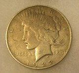1922 Lady Liberty Peace silver dollar in very good condition