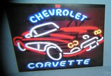 Chevy Corvette retro style advertising sign