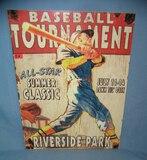 Baseball Tournement Riverside Park retro style sign