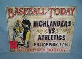 Baseball Today Highlanders Vs. Athletics retro style  sign