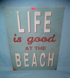 Life is Good at the Beach retro style advertising sign