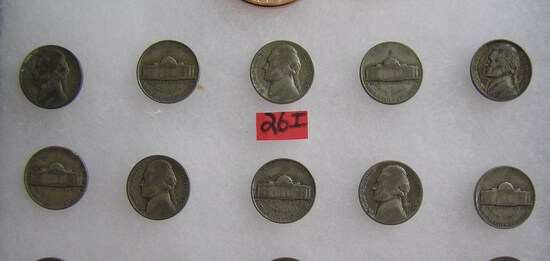 Group of all silver war time Jefferson nickels