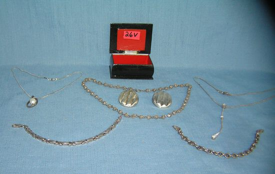 Russian laquer box full of sterling silver jewelry