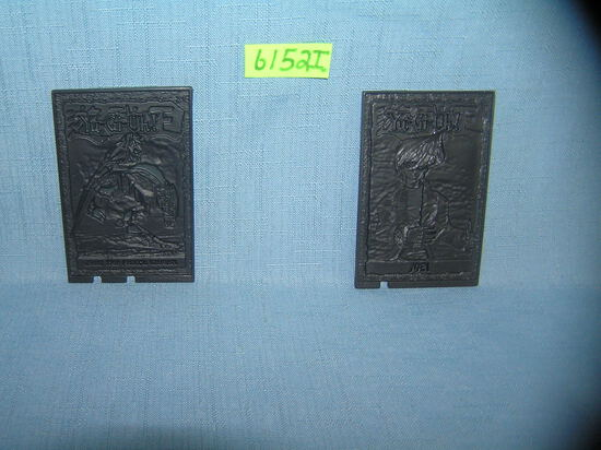 Pair of Yu-Gi-Oh hard plastic collector cards