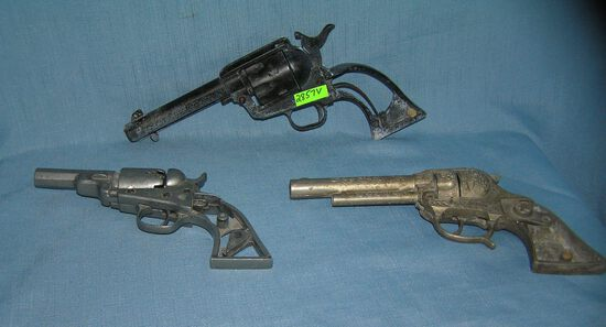 Group of 3 early Heavy cast Metal Toy Guns