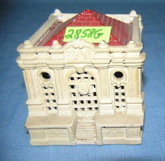 Hand painted cast iron treasury bank building