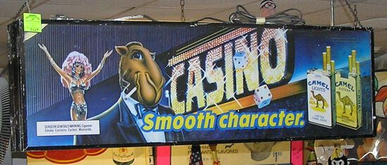 Camel and Winston cigarettes box sign