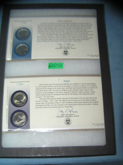 Group of US mint cased state quarters