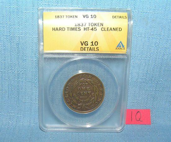 1837 hard times token graded VG10