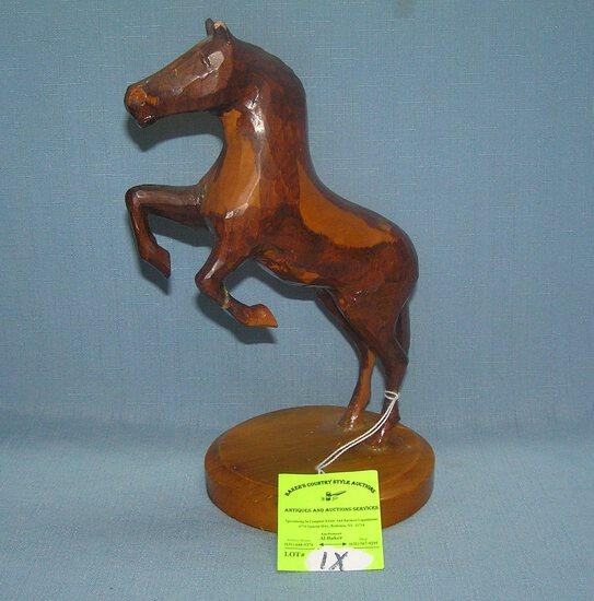 Prison made Hand carved prancing horse