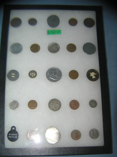 Collection of vintage coins, tokens, slugs and more