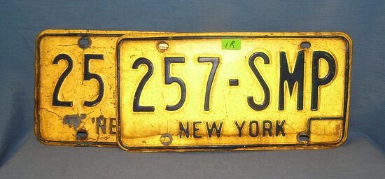Pair of vintage NY state license plates