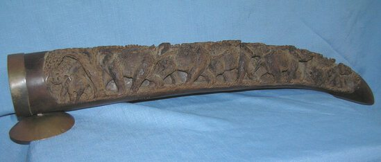Antique hand carved wooden elephant tusk