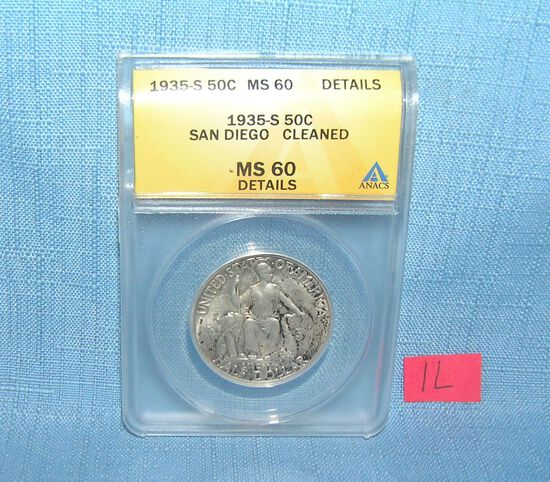 1935S silver San Diego commemorative half dollar