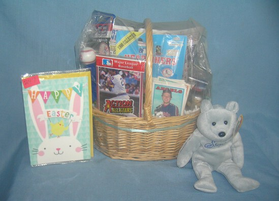 Sports collectibles themed gift basket, loaded
