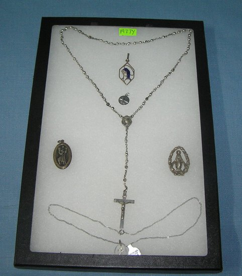 Vintage sterling silver religious collectibles