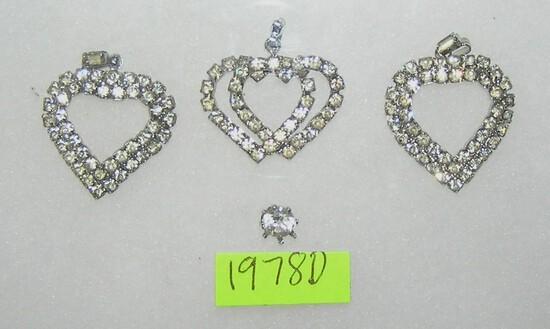 Markasite heart shaped pendants and earring