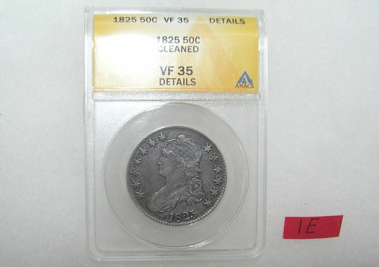 1825 draped bust silver half dollar graded VF35