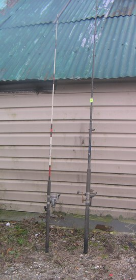 Pair of modern surf casting rods and reels