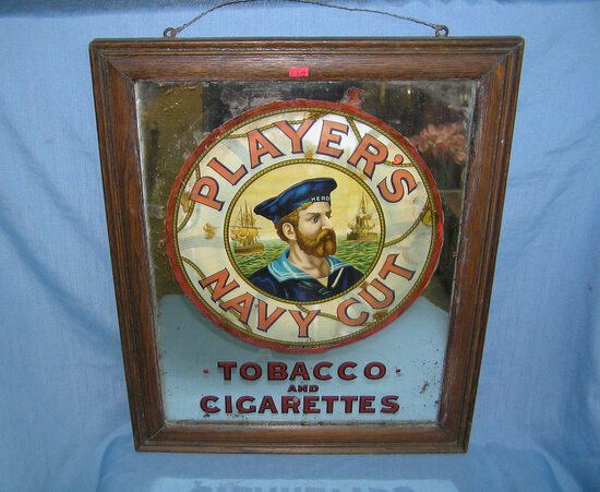 Early 1900's player's Navy cut original tobacco advertising mirror