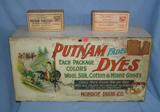 Antique Putnam Dyes all metal lithographed fadeless dye cabinet