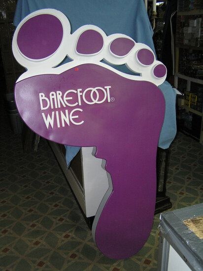 Barefoot wine large 38 inches wide by 66 inches high double sided store display sign