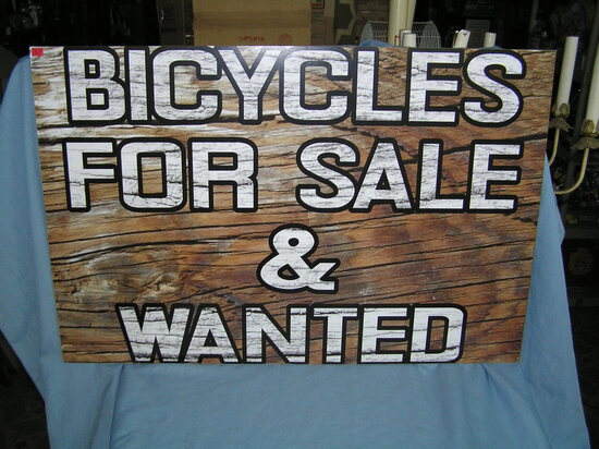 Bicycles for sale and wanted retro style advertising sign