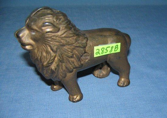 Antique cast iron lion bank