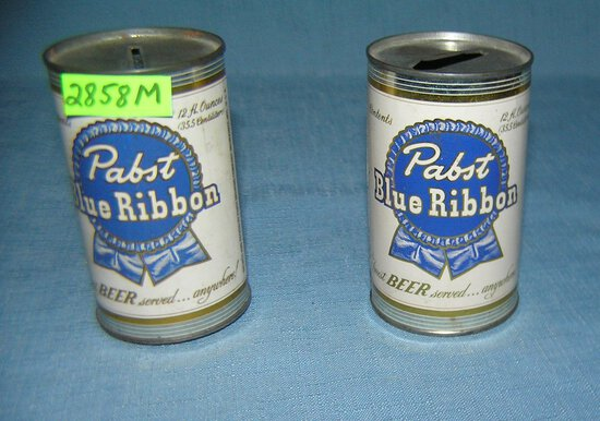 Pair of Pabst Blue Ribbon beer can banks