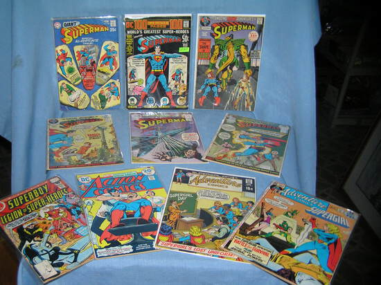 Collection of early Superman comic books