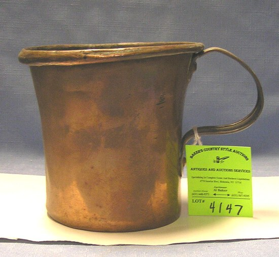 Antique solid copper hand forged over sized cup