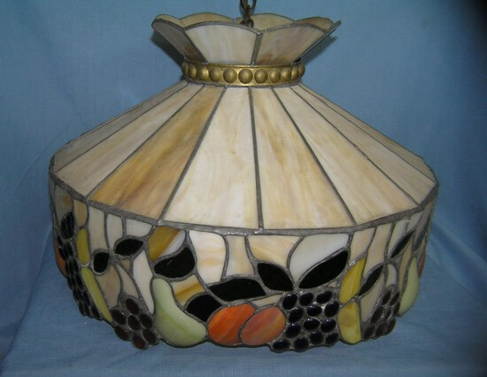 Vintage fruit decorated stained glass chandelier