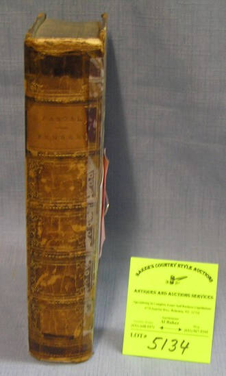 Antique leather bound book thoughts of Pascal