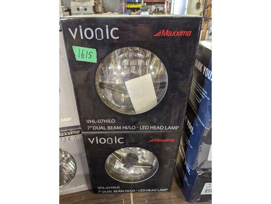 """2 Maxxima Vionic 7"""" Dual Beam LED Head Lamps"""