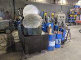 Large Lot of Oil & Grease Barrels, Pump, Storage Tank