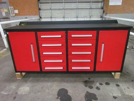 7' 10 Drawers & 2 Cabinets Work Bench