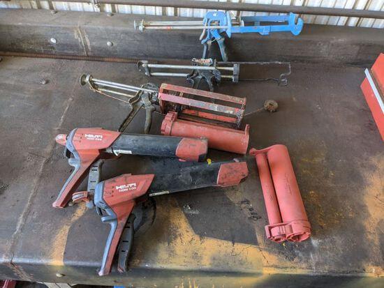 (2) Hilti HDM 500 Guns & (3) Caulk Guns